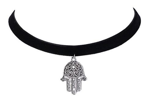 Streamline Velvet Hand Pendant Choker For Women @ amazon 150.JPG